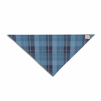 "afe images ""Blue Plaid Pattern II"" Blue Multicolor Illustration Pet Bandana"