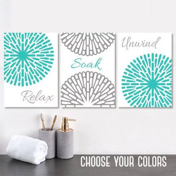 Turquoise Gray BATHROOM WALL Art, Turquoise Bathroom Quotes Wall Decor, Flower Bathroom CANVAS or Prints, Relax Soak Unwind,  Set of 3 Decor