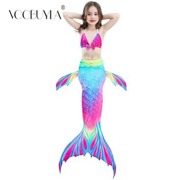 Voobuyla 3 Pcs Girls Rainbow Mermaid Tail Swimwear Bathing Suit Cosplay Costume Bikini Swimsuit Swimming Suits Swimmer Clothes