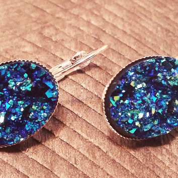 Druzy earrings-  Metallic blue drusy silver tone dangle druzy earrings