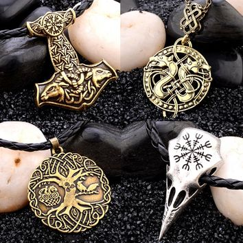 Sindlan Necklace Fashion Man Jewelry Vintage Carving Sheep Thunder Hammer Life Tree Crow Skull Amulet Metallic Pendant Necklace