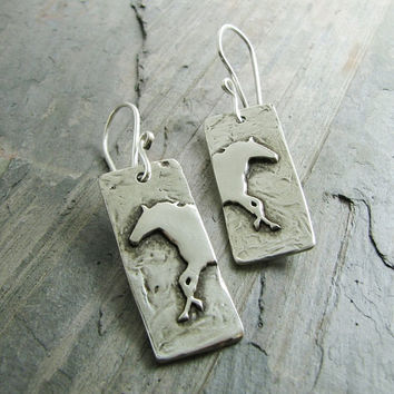 Artisan PMC Horse Jewelry, Wild Horse Earrings in Fine and Sterling Silver by SilverWishes, Handmade