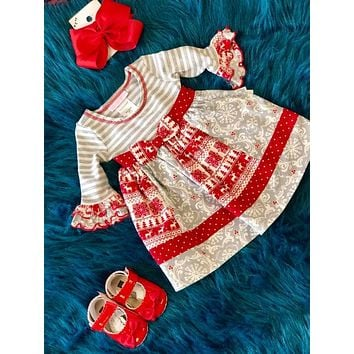 Bonnie Jean Christmas Red & Gray Deer Dress