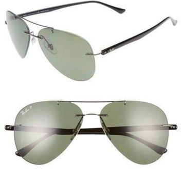 UCANUJ3V Ray-Ban 59mm Polarized Aviator Gunmetal/ Green Sunglasses