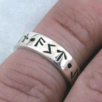 MY LOVE FOREVER Norse Rune Love Spell Ring, Sterling Silver Wedding, Commitment, Handfasting Band