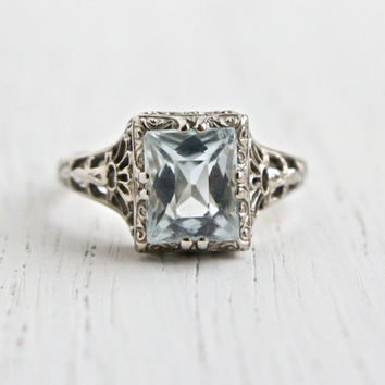 Antique 14k White Gold Aquamarine Blue Stone Filigree Ring - Size 6 1/2 Vintage Filigree Art Deco 1930s Fine Jewelry / Light Aquamarine Blue