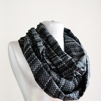 Handmade Honey Comb Infinity Scarf - Thick Cotton Jersey - Black Gray - Winter Autumn Scarf - Men Unisex Scarf