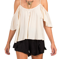 Creamy Cold Shoulder Top - Medium - Cream /