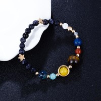 2018 Universe Galaxy The Eight Planets Solar System Guardian Star Natural Stone Beads Bracelets