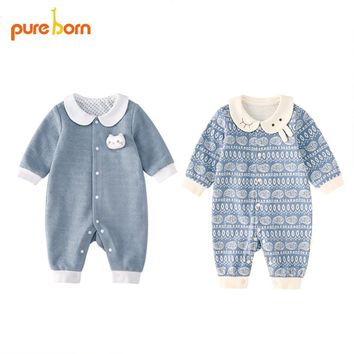 Pureborn Baby Romper Newborn Baby Clothes Clothing Jumpsuit for Girls Boys Toddlers Cotton One Piece Long Sleeve 2018 Brand New