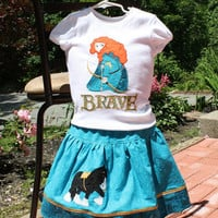 Custom Princess Merida from Disney Brave appliqueT shirt and skirt set - Sizes 2T - 8 years