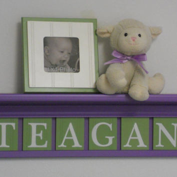"Purple Kids Wall Shelf - Nursery Shelves - 24"" Lilac Shelf with 6 Wooden Letter Plaques in Light Green - TEAGAN"