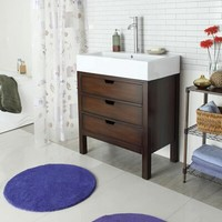 Modern cherry finish wood contemporary style wash basin sink and cabinet set with porcelain sink top