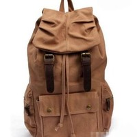 Jeansian Men's Womens Unisex Canvas BackPack School Bag Khaki BG004