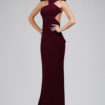 Jovani 22696 Dress Jersey Fit-and-Flare Halter Neck Open Back Bustle Ruffle