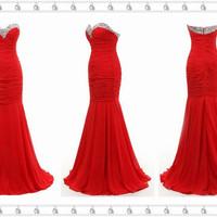 Red Prom/Evening Dress, Mermaid Sweetheart Prom Dress, Prom Dress 2014, Sexy Prom Dress, Long Prom Dress, Long Beaded Prom/Evening Dress
