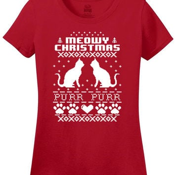 Meow Christmas Purr Purr Cat Ugly Christmas sweater design t-shirt Reindeer winter night Elf T-shirt Christmas Party shirt tee MLG-1277