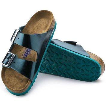 DCCK1 Birkenstock Arizona Soft Footbed Leather Metallic Green 1003481 Sandals
