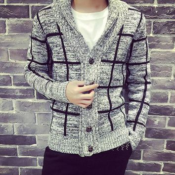 2017 Spring men clothing men's plaid collar cardigan knit jacket men sweater coat good quality size M to XXL 2 colors