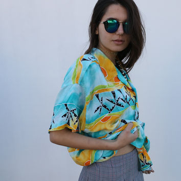 EXOTIC PALMS BUTTON UP