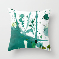emerald green splash Throw Pillow by agnes Trachet | Society6