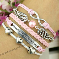 Love the bracelet - pink pearl - infinity charm bracelet - silver bracelet - where there is a will there is a way bracelet - gift informers