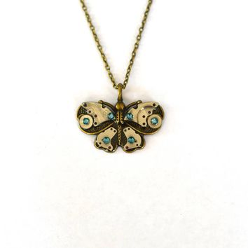 Watch Parts Butterfly with Blue Rhinestones Steampunk Necklace