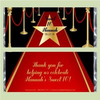 Red Carpet Sweet 16 Candy Bar Wrapper