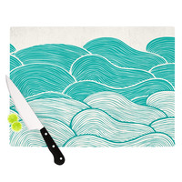 "Pom Graphic Design ""The Calm and Stormy Seas"" Green Teal Cutting Board"