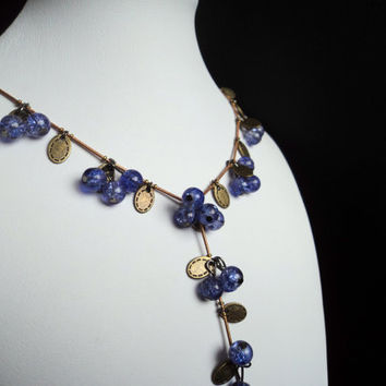 Stone Bead Necklace Purple by Lunarpearl on Etsy