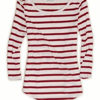 AEO Women's Stripe Zip Shoulder T-shirt