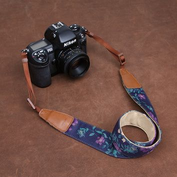 Blue Cowboy Flowers DSLR Camera  Cotton Handmade Camera Strap 7142