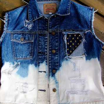 Denim distressed vest