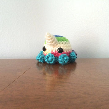 Gumdrop Octocorn Plush - Octopus Plush - Crocheted Plushies - Crochet Amigurumi - Amigurumi Octopus - Unicorn Plushy - Geekery - Nerd Gift