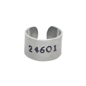 24601 Hand Stamped Les Miserable Aluminum Cuff Ring