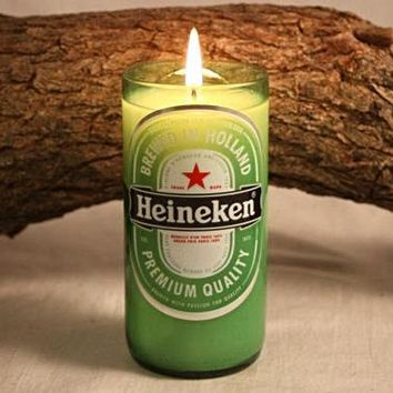 Beer Bottle Candle Upcycled from Heineken Beer Bottle, Highly Scented Unique Candle
