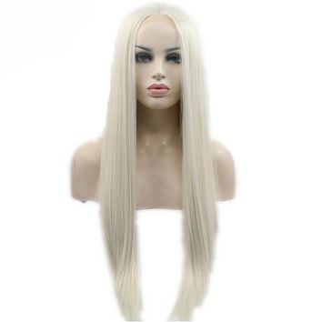 Light Blonde Silky Straight Synthetic Lace Front Wig