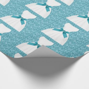 Light Turquoise Blue with a White Dress and Damask Wrapping Paper