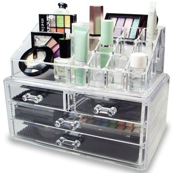 GLAM NYC 2 PC Acrylic Jewelry Cosmetic Makeup Storage Unit
