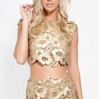 Metallic Floral Lace and Mesh Crop Top | MakeMeChic.com