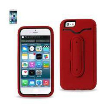 REIKO IPHONE 6 HYBRID HEAVY DUTY CASE WITH BENDING KICKSTAND IN RED