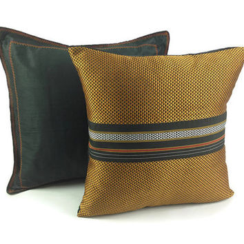 Gold pillow, Yellow Pillow, Bohemian Decor, Boho Pillow, Black Cushion, 16X16 Pillow, Woven Pillow, Couch Pillow, Sofa Pillow, Gold cushion