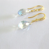 Light blue colored czech crystal dangle earrings. Vintage inspired wedding jewelry