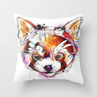 Red Panda Throw Pillow by Abby Diamond