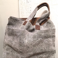 Washed Linen Wide Tote, Grey