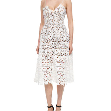 Women's Azalea Lace Dress, White - Self Portrait - White