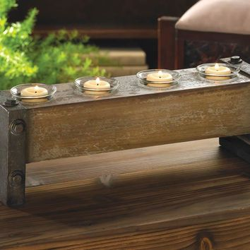 Distressed Wooden Block Multi Candle Holder
