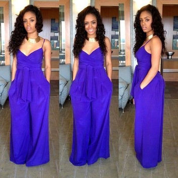 Blue V Neck Sleeveless Waist Bow Tie Maxi Dress