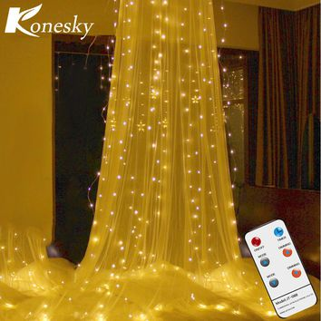 3*3m 300LED Curtain Light RF Remote Control String Light with Diamond Pendant & Hook Outdoor Indoor Party Christmas Xmas Decor