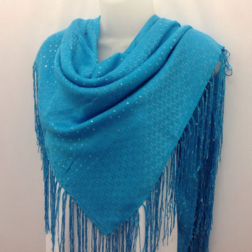 Holiday gift, Sky Blue square shawl, Gift for Mother, Fancy Piano Shawl, Gift for coworker, Gift Best Friend, Mothers Day gift for Wife
